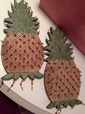 Lot Of Two Decorative Wood And Metal Beaded Pineapple Wall Plaques Pockets