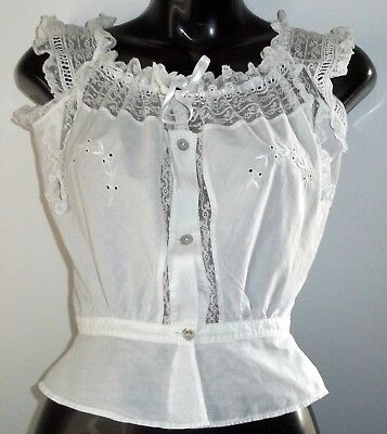 Vintage Crisp Irish White Cotton Chemise Camisole Under garment Wedding Lingerie