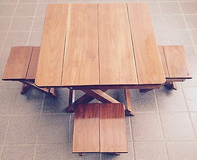 Vintage~Solid Hard Wood Folding Table And Chairs~Children~Maker Unknown