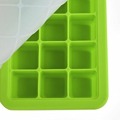 Upgrade Silicone Food Freezer Tray with Cover 21 Cups Ice Box Ice Mold Green
