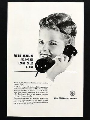 1946 Vintage Print Ad 40's BELL TELEPHONE SYSTEM Operator Woman Talking On Phone
