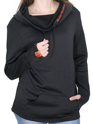Harley-Davidson Womens Moonlight Synthetic Cowl Neck Black Pullover Hoodie