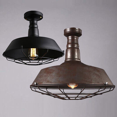 Rustic Industrial Barn Cage Ceiling Light Semi Flush Mount Pendant Light Fixture