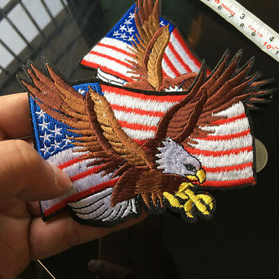 1x USA Eagle Iron On Patch American Flag Embroidery Biker Patch Punk Motif Sew