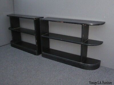 Pair of Mid Century Modern Black Solid Wood Three Tier Bookcases