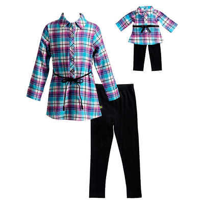"""Girl 4-10 and 18"""" Doll Matching Flannel Tunic Top Leggings Outfit American Girl"""