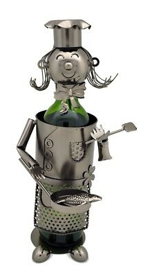 Wine Bottle Holder Miss Lady Chef With Pan Metal Character. Wine Bodies