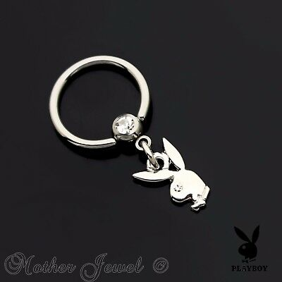 16G 10Mm Playboy Dangle Silver Surgical Steel Cbr Septum Captive Ball Ring