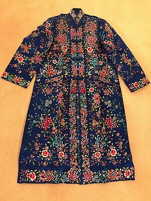 Vintage Chinese Plum Blossom Hand Embroidered Blue Robe/Coat/Dress Size 36 - New