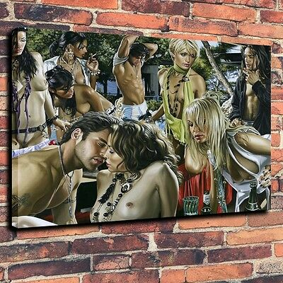 Home Decor Art Quality Canvas Print,Oil Painting Adult gathering  wine 16X20