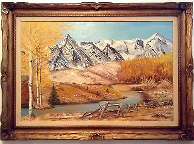Vintage Extra Large Canadian Mountain Fall Landscape by Collean 43 x 31