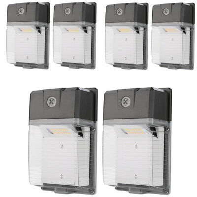 6 PACK 30W LED Wall Pack 5000K IP65 Waterproof 3300lm Dusk to Dawn 100-277V AC