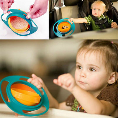 UK 360 Rotating Baby Kids Feeding Toy Bowl Dishes Food Spill Proof Funny Gyro