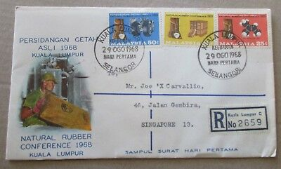 Malaysia ..1968 Natural Rubber Conference  Cover....registered 2659