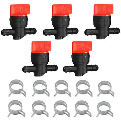 "5-pack 1/4"" Inline Gas Fuel Shut Cut Off Valves 10 Clamps for Briggs & Stratton"