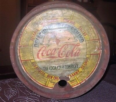 "Antique 1920's Coca Cola Syrup Barrel Wood  / 6 Metal Bands / 16.25"" Tall"