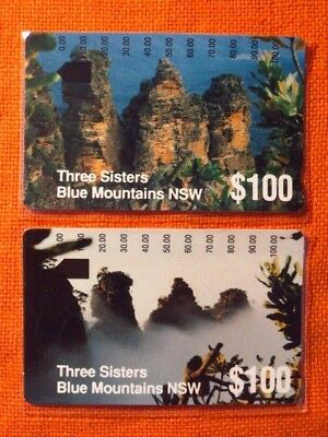 2x Phonecard Collectors Club SYDNEY Blue Mountains, THREE SISTERS cards ~1994