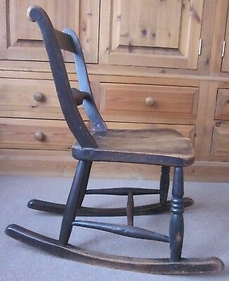 Antique child's wood mahogany/oak/Victorian(?) rocking chair sturdy vintage fab