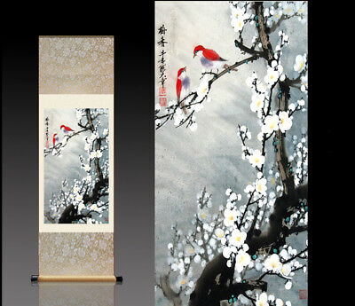 Chinese Silk Scroll Painting Plum Blossom Home Office Decoration(喜鹊雪梅)