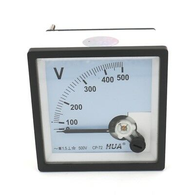 Square Panel Voltage Meter Analog Voltmeter CP-72 AC 0-500V Screw Mount Class1.5