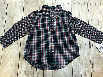 Ralph Lauren Polo Ls Button Down Plaid Shirt Size 12 Month New With Tags $45