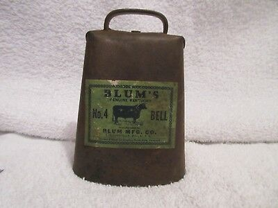 vintage cowbell Blum's Genuine Kentucky No. 4 Bell lot S