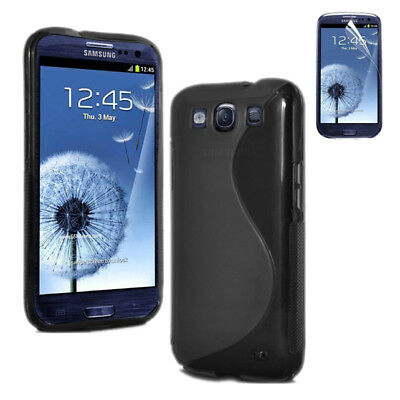 Black Silicone Gel Case Cover For Samsung Galaxy S3 + Free Screen Protectors L2