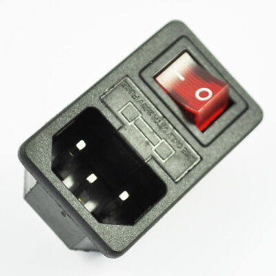 Sodial(R) Inlet Male Power Socket with Fuse Switch 10A 250V 3 Pin IEC320 C14 L2