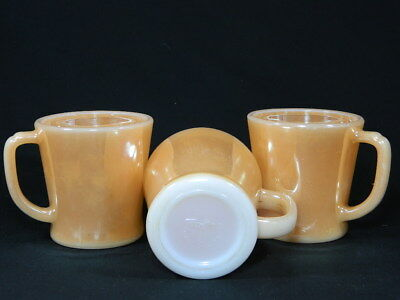 Vintage Fire King Cups/mugs Peach Lustre Anchor Hocking  - Collectable