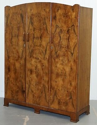 Antique Triple Bank Walnut Wardrobe Built In Drawers Mirrors Splits In 3 Pieces
