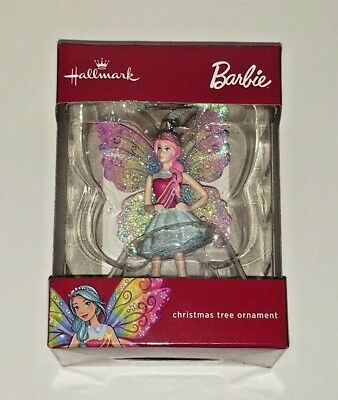 Hallmark Barbie as Butterfly Fairy Christmas Tree Ornament 2017 Red Box Edition