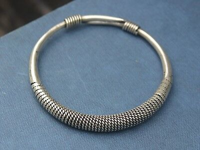 Handmade Ethnic silver bangle Unique boho tribal jewellery Gift for her or him