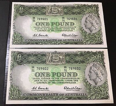 One Pound Paper Bank Note Coombs Wilson Australian Pre Decimal consectivate