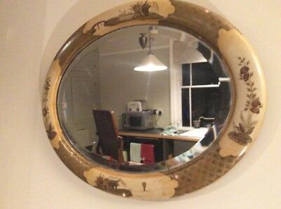 Antique Chinoiserie Gold Cream Lacquered chinese Style Oval Bevelled Mirror