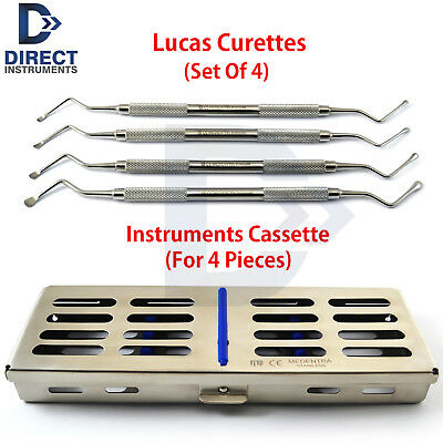 Set Of 4 Lucas Bone Curettes Periodontal Extraction Dental Instruments +Cassette