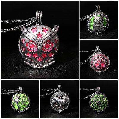 Aromatherapy Essential Oil Diffuser Necklace Stainless Steel Locket Pendant Gift