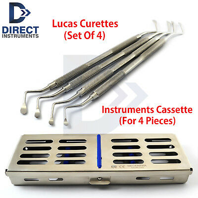 Dental Lucas Surgical Bone Curette Periodontal Scaling Root Planing + Cassette
