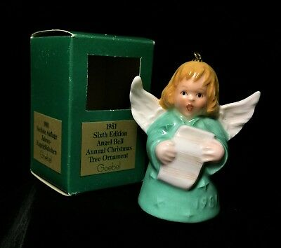 SIGNED Hummel Goebel Angel Bell Annual Ornament 1981 Green RARE Vintage