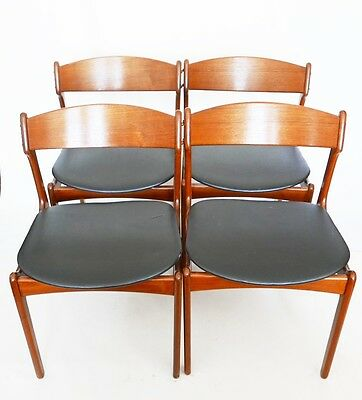 4 chairs scandinavian ERIK BUCH teak year 50 60 vintage design 20th