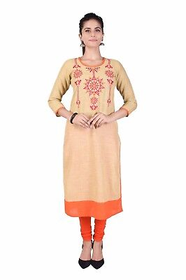Bollywood Women Indian Embroidery Orange  Cotton straight Kurta