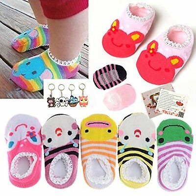 Fly-love 5 Pairs Cute Baby Toddler Stripes Anti Slip Skid Socks No-Show Crew For
