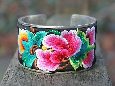 Ethnic silver Embroidered bangle Bohemian flower bracelet Unique gift for her