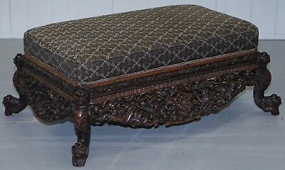Large Heavily Carved Very Ornate Mahogany Footstool For Two To Share Bench