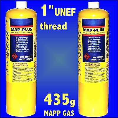2x MAPP Map Plus 435g Bottle Disposable Gas Cylinder plumbers torch jet burner