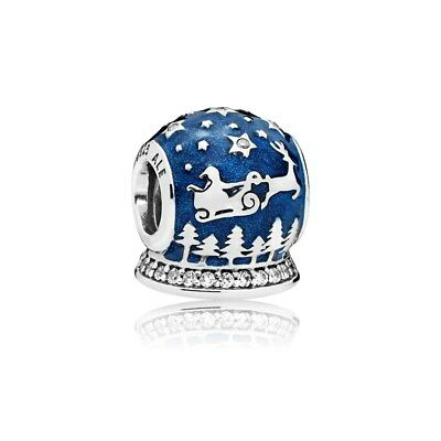 Authentic Pandora Sterling Silver Global Snow Christmas Night Charm 796386EN63