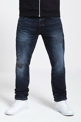 Mens Slim Fit Stretch Jeans In Blue Black (Gravity)