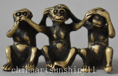 Exquisite Chinese Brass Statue Hand-Carved Three Monkey Statue Decoration Art