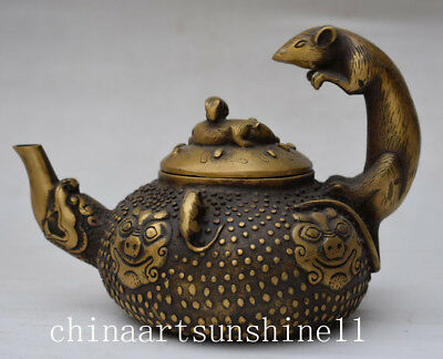 Exquisite Chinese Old Bronze Tea Pot Handmade Carved Mouse Statue