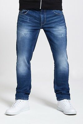 Mens Slim Fit Stretch Jeans In Mid Blue Ripped Wash  (Voyage)