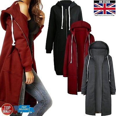 Womens Long Sleeve Hooded Jumper Warm Zip Up Sweatshirt Fleece Hoodies Long Coat
